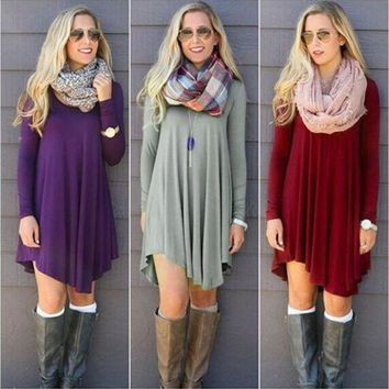 Fashion Clothes vestidos Women 2016 Autumn Winter Dress Female Cotton O-neck Long Sleeve Mini Woolen Dresses One-nice™