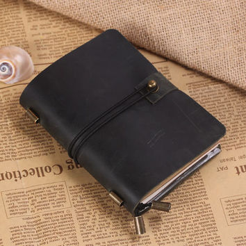 Hand Crafted Vintage Refillable Leather Traveler's Notebook - Leather Journal Notebook - Passport Size