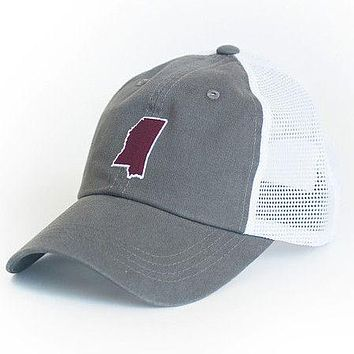 Mississippi Starkville Gameday Trucker Hat in Grey by State Traditions