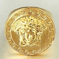 Versace Men New fashion human head ring accessories golden