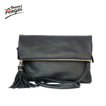 Luxury Handbags Women Bags Designer 2016 Tassel Women Messenger Bags Famous Brand Small Fold Over Crossbody Bag For Women Black