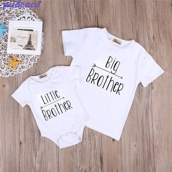 Brotherhood Clothes Lovely Summer Little Brother Baby Boys Romper Bodysuit Big Boy T-shirt Tops Cute Brothers Clothing Outfits