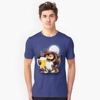 'Drunk Owl with Beer Funny Character' T-Shirt by BluedarkArt