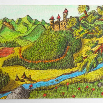 Art print aceo drawing, ink and color pencil print, Ancient fantasy world series, Titled 'Cross the valey'