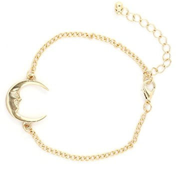 Crescent Moon Bracelet Gold Tone BE38 Man in the Moon Chain Bangle Fashion Jewelry