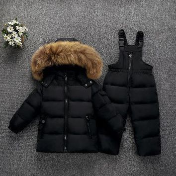 Children Winter Down Jacket Set Thickening 3-4-5y Kids Warm Clothes Toddler Boy Winter Jacket Outfits Girls Tracksuit Snowsuit