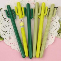 DCCKL72 1 Pcs Cute Cactus Gel Pen Kawaii Korean Stationery Creative Gift School Supplies 0.38mm Plant Pen