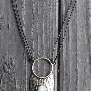 Turquoise Stone Suede Cord Necklace