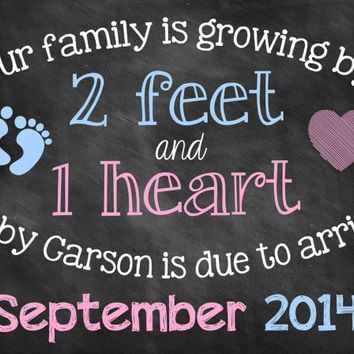 Chalkboard Pregnancy Announcement // Pregnancy Reveal // 2 Feet 1 Heart // Growing Family // Digital File