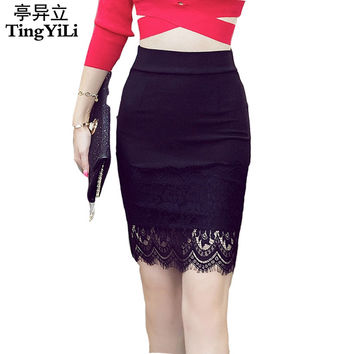 TingYiLi S-5XL Plus Size Black Pencil Skirt Lace Bodycon Skirts Womens Spring Summer Tight Sexy Mini Skirt