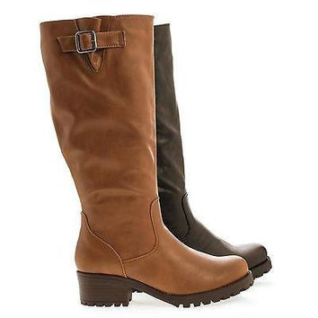 Capture06 By Bamboo, Mid Calf Round Toe Lug Sole Block Heel Riding Boots