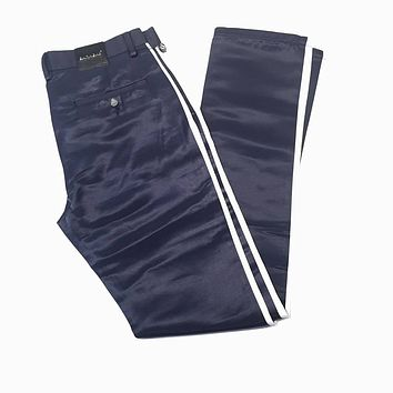 Barabas Straight Leg Navy Striped Trousers