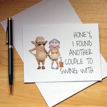 Card For Swingers, Funny Card, Couples Card, Card For Boyfriend, Card For Husband, Mature Card, Adult Humor, Sexy Card, Naughty Card, Dirty