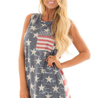 Faded American Flag Tank Top with Front Pocket