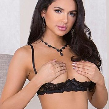Stretch Lace Underwire Open-Cup Shelf Bra