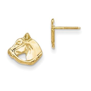14kt Yellow Gold Bridled Horse Head Screwback Girls Stud Earrings