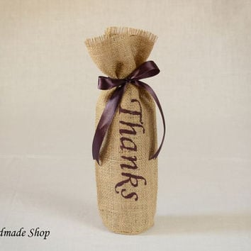Burlap Wine Bag, Wine Bottle Bag, Wine Decor, Table Decoration - SET OF 25