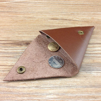 Mens brown coin purse,Mens coin pouch,Mens coin wallet,Womens coin purse,Leather Coin purse,Minimalist coin wallet,Triangle coin purse