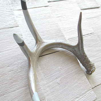 Decorative Deer Shed Antlers Maine Hand Painted and Gilded Table Centerpiece Mantle Decor Rustic Primitive Contemporary Blues Grays