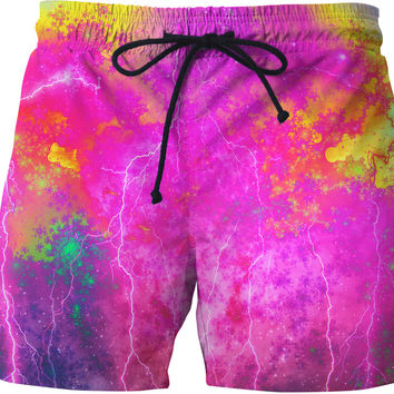 Blue And Pink Prophecy Swim Shorts