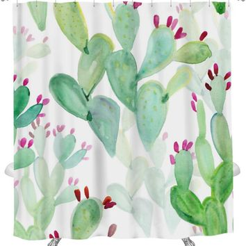 Shower Curtain, Watercolor Cactus Pattern