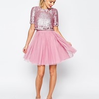 ASOS SALON Crystal Crop Top Tutu Netted Mini Skater Dress at asos.com