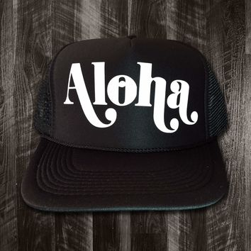 "50th State ""Aloha Scoop"" Black Trucker Hat"