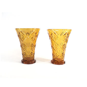 Art Deco Yellow Amber Vase, Flower Holder, Plant Pot, Art Deco Vase, Geometrical Vase Val Saint Lambert