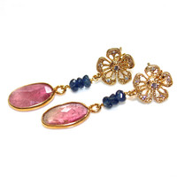 Pink Tourmaline Earrings Deep Blue Sapphire Earring Tourmaline Slice Earring Mothers Day Flower Earring Delicate Earrings Tourmaline Jewelry