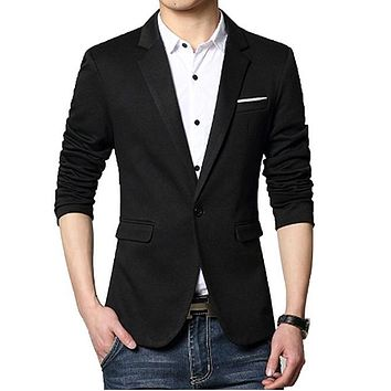 Mens Classic One Button Blazer in Black