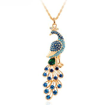 Fashion Gold Plated Peacock Pendant Necklace Women's