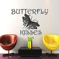 Wall Decals Quotes Vinyl Sticker Decal Quote BUTTERFLY KISSES Home Decor Bedroom Art Design Interior NS774