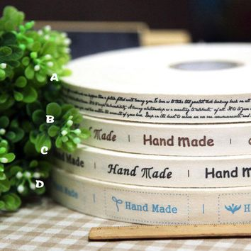 New arrival handmade 1.5-2cm cotton fabric woven brand labels ribbon DIY accessory sewing Grosgrain clothing label Free Shipping