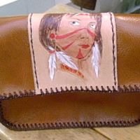 brown hand carved Indian girl leather satchel handmade