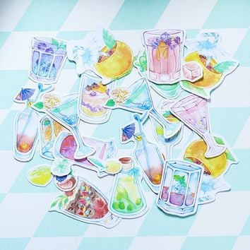 1 Bag Summer drink cup paper sticker package DIY diary decoration sticker planner album scrapbooking kawaii stationery