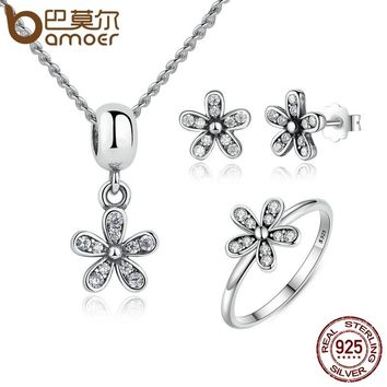 BAMOER Genuine 925 Sterling Silver Jewelry Set Dazzling Daisy & Clear CZ Bridal Jewelry Sets
