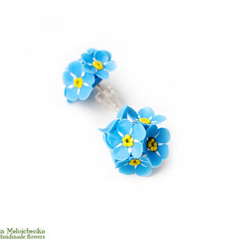 "Earrings ""Forget-me-not"" - Polymer Clay Flowers"