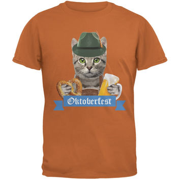 Oktoberfest Funny Cat Texas Orange Adult T-Shirt