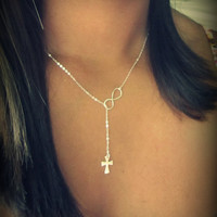 Cross and Infinity Lariat, new design, sterling silver lariat