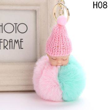 Cute Sleeping Baby Doll Keychain Double Color Pompom Faux Fur Ball Key Chains Car Keyring Women Key Holder Bag Pendant