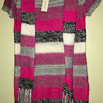 Bobbie Brooks Girl's Striped Sweater Tunic & Scarf Size XL 14-16 NWT