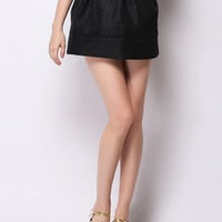 Black Textured Bubble Mini Skirt