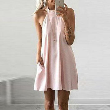 Round neck loose solid color dress
