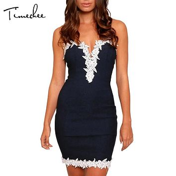 Vestidos Women Dresses Timechee 2017 Summer Sexy Lace Spaghetti Strap Deep V-Neck Solid Color Sheath Short Mini Dress LYY0039
