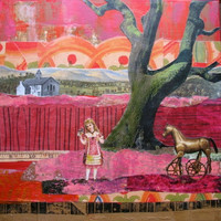 Collage Art- Right At Your Doorstep-Girl and Horse collage, Mixed media art