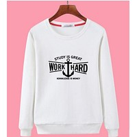 Unisex Casual Logo Letter Print Loose Long Sleeve Sweater Tops
