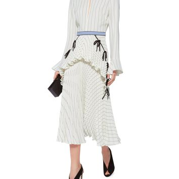 Monochrome Striped Pleated Dress