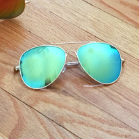 Aqua Mirror Lens Aviator Sunglasses