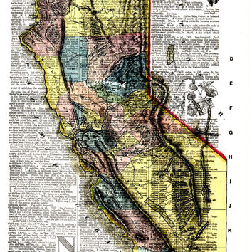 Map of California - 1851 - Gold Rush - Vintage Dictionary Art Print - Page Size 8.5x11