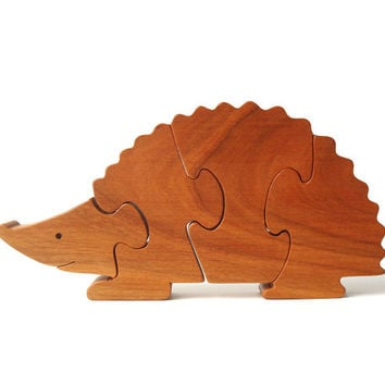 Wood Hedgehog Puzzle Woodland Animal Puzzle Country Decor Wooden Children's Puzzle Hand Cut Scroll Saw Cherry
